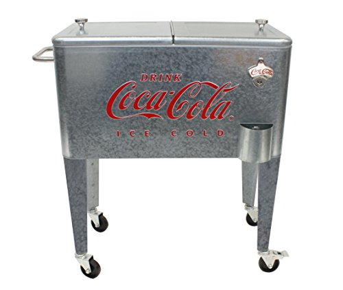 Leigh Country CP 98104 Galvanized Coca-Cola Rolling Cooler, 60 Quart