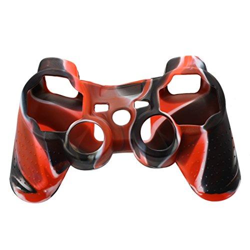 Cikuso Funda Protectora de Silicona para Controlador de PS2 PS3 - Negro y Rojo