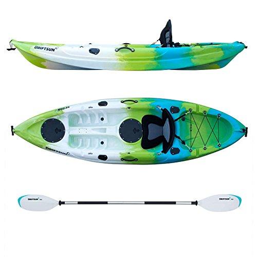 Driftsun Teton 90 Hard Shell Recreational Kayak, Single Person Sit On Top Kayak Package with EVA Padded Seat, Includes Aluminum Paddle and Fishing Rod Holder Mounts