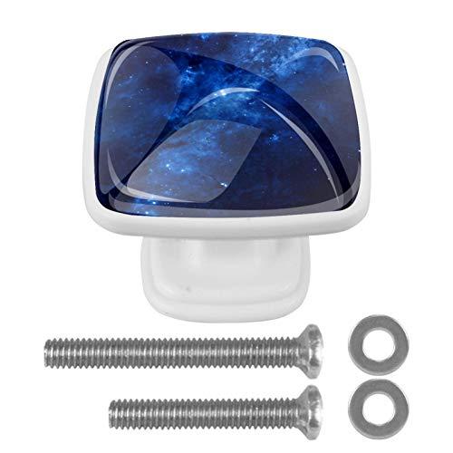 Confezione da 4 pomelli piatti per cucina, camera da letto, armadietto, maniglia quadrata per cassettiera, cassetto, ferramenta astratta blu