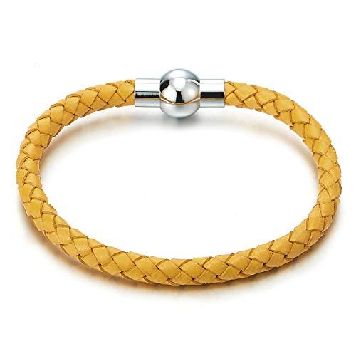 COOLSTEELANDBEYOND Unisex Gelb Dünn Leder-Armband für Herren für Damen Geflochtenes Leder Armreif Schweißband mit Magnetverschluss