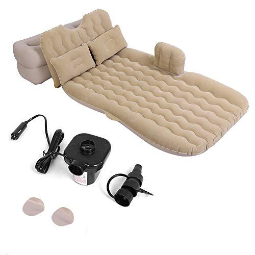 Cama inflable del colchón de aire del coche con la bomba de aire, colchón inflable de la cama interior al aire libre portátil que acampa viaje del asiento trasero del coche cojín de las camas(Beige)