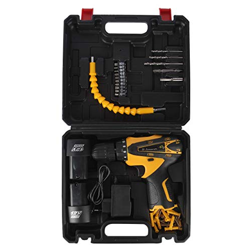 TWONE Multi-Function Cordless Drill Machine 12V Lithium-Ion 1.5Ah with 2 Batteries & Two Speed Control - LED Light Guided - Keyless Chuck - Reverse Forward Motion Screw Driver with Bit Set