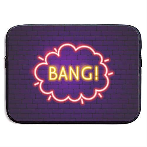 Ahdyr Neopren-Laptop-Hülle, wasserdichte Aktentasche, Tragetasche, Notebook-Hülle, 15 Zoll, Bang Neon-Etikett