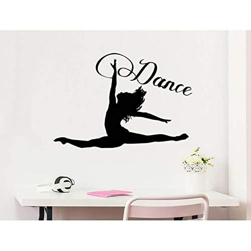 Wandsticker Tanz Wandtattoo Frau Mädchen Silhouette Tanzen Gymnastik Akrobatik Vinyl Aufkleber Decals Home Decor Studio Dance Art 57x39cm