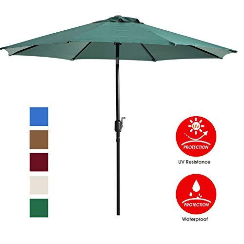 UHINOOS 9 ft Patio Umbrella,Outdoor Umbrella with Crank and 8 Ribs, Polyester Aluminum Alloy Pole Tilt Button Outside Table Umbrella, Fade Resistant Water Proof Patio Table Umbrella (Green)