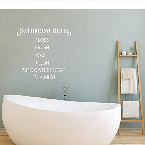 HUAIyinSTOAM Bathroom Rules Put Down The Seat Quotes Wall Stickers Waterproof Art Decoration 4239cm