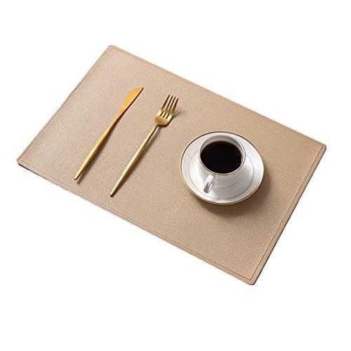 Tischsets (6er-Set),Neu PU-Leder Wasserdicht Rutschfest Isolierung Waschbar Schnell trocknend Dekorativ Tischset,Beige