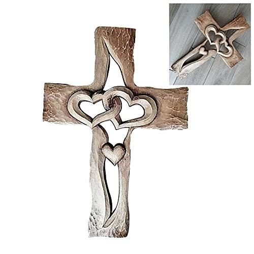 Gesneden Houten Kruis Verweven Harten, Muur Hangende Hand Gesneden Hout Kruis, Voor Vrienden, Liefhebbers En Familieleden In De Naam Van Liefde En Hoop (Wooden Hart)