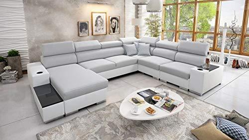 Großes Ecksofa Wohnlandschaft Piano Abstellfläche Polstersofa Couch XXL Sofa 26 (Links)