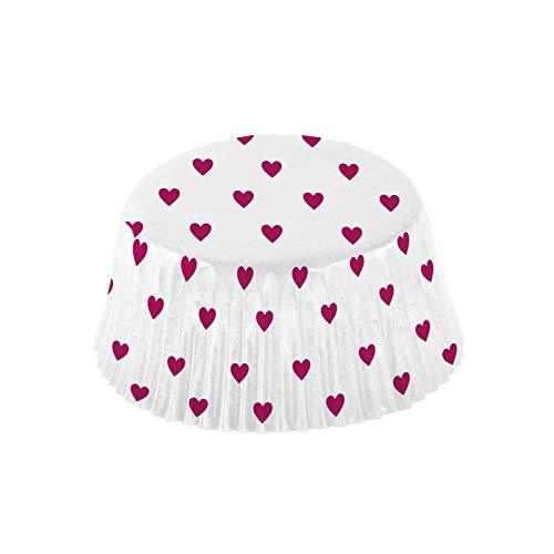amscan 9903118 48 Muffinförmchen Everyday Love, Weiß, Weinrot
