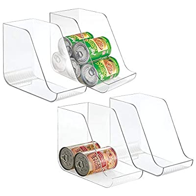 mDesign Large Plastic Standing Pop/Soda Can Dispenser Storage Organizer Bin for Kitchen Pantry, Countertops, Cabinets, Refrigerator - Compact Vertical Holder - 4 Pack - Clear by MetroDecor