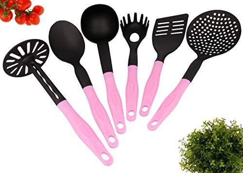 Lantelme Küchenhelfer 6 teiliges Küchenutensilien Set Kochzubehör Kunststoff hitzebeständig in schwarz - rosa