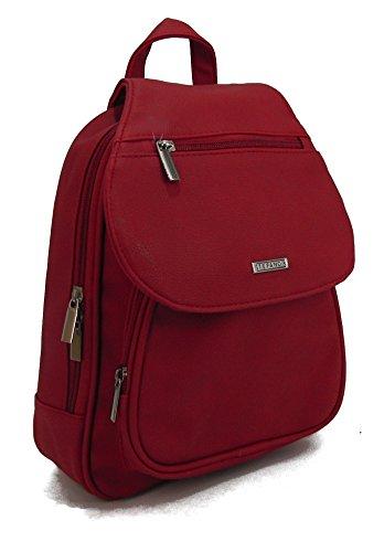 STEFANO moderner Frauen Rucksack Daypack Bodybag Schultertasche Cityrucksack Rucksackhandtasche soft PU verschiedene Modelle, Rot, Maße ca. 26 x 31,5 x 7,5 cm
