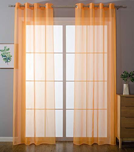 2er-Pack Ösen Gardinen Transparent Vorhang Set Wohnzimmer Voile Ösenvorhang Bleibandabschluß HxB 175x140 cm Orange, 203322