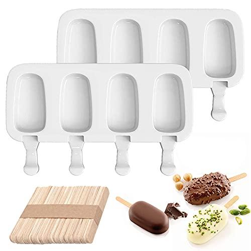 Moldes para Helados de Silicona,2 Piezas 4 Cavidades Moldes de Helado Congelado Molde de Hielo de Silicona Blanca para Paletas de Choc con 50 unids Palos de Madera,Bricolaje(blanco)