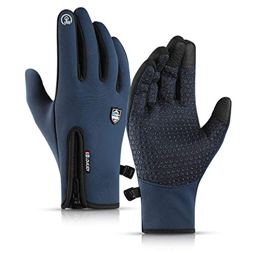 N\X Cycling gloves-35degrees winter warm mountain bike cycling gloves snowboarding cycling gloves touch screen waterproofcycling glovesLblue
