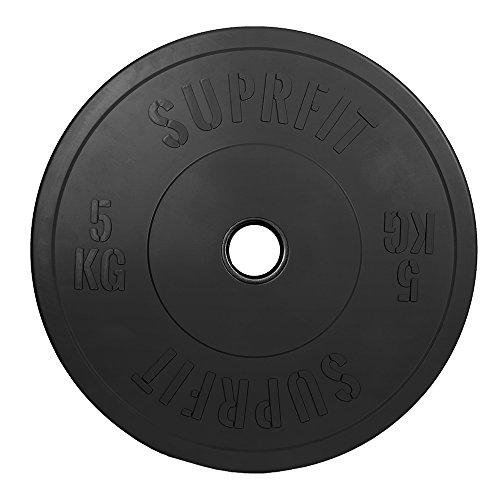 Suprfit Econ Bumper Plates - gummierte & stoßabsorbierende Hantelscheiben fürs Hanteltraining, Gewicht: 1 x 25 kg, IWF Norm: 50 mm Aufnahme, Durchmesser: 450 mm, stoßabsorbierend, Farbe: Schwarz