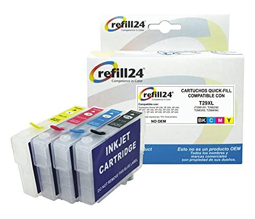 refill24 Cartuchos Recargables Compatible para Serie 29 / 29XL Auto-reseteables para impresoras Expression Home XP