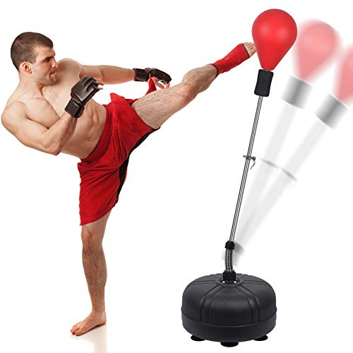 Speed Ball Boxing Bag with Adjustable Stand, Adult and Children's Models, Freestanding Boxing Sandbag, Height Adjustable Outlet 53In-62In - Perfect for MMA Training, Etc, Fitness and Stress Relief.