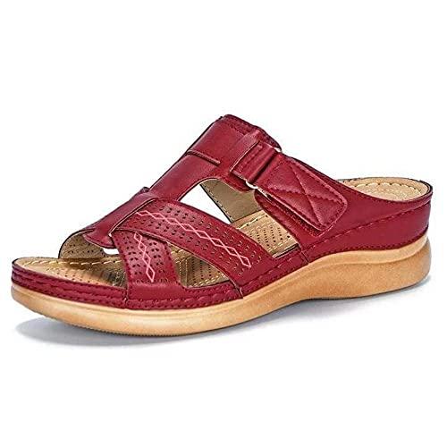 Chanclas clásicas,Sandalias de Gran tamaño de Color sólido Vintage, Moda Sandalias de Mujer Gruesas-Vino Tinto_38,Sandalia Casual de Tiras