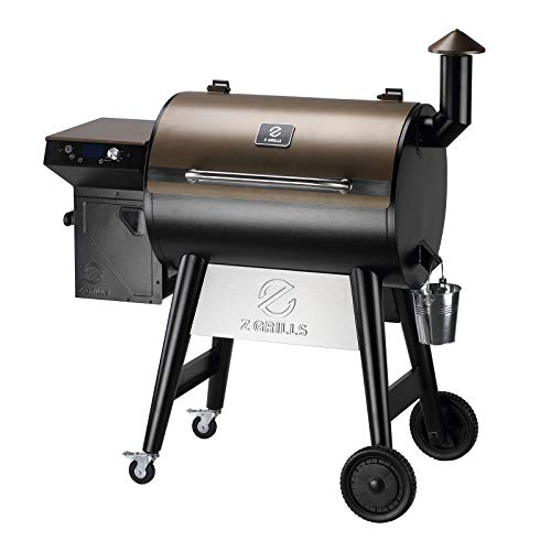 Z GRILLS 7002F 2021 Upgraded Wood Pellet Grill Smoker Portable for Outdoor BBQ, 8 in 1 BBQ Grill and Smoker with Digital Temperature Control, Hopper Clean-Out, 697 sq. in (Rain Cover Included)