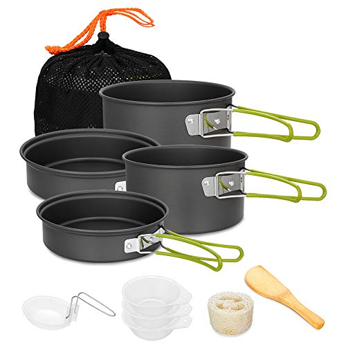 Gutsdoor Camping Cookware Set 4 Person Camping Gear Campfire Utensils Non-Stick Cooking Equipment Lightweight Stackable Pot Pan Bowls with Storage Bag...
