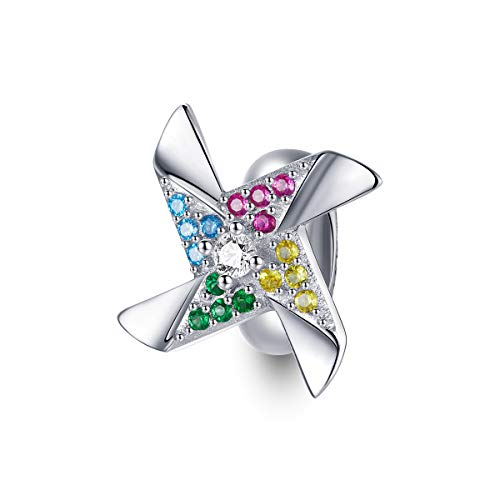 Women's Charm Beads 925 Sterling Silver Colorful Sunflower Rose Bear Silicone Stopper Spacer Beads For Bracelets,Compatible with Pandora European Style Bracelet Charm (Colorful Windmill Beads)