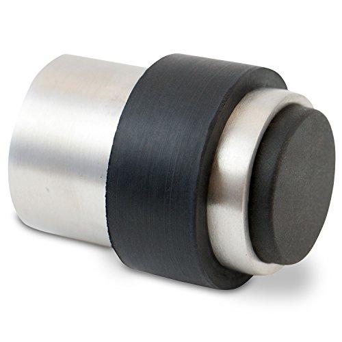 Stoppwerk Topes para puertas de acero inoxidable con goma TS013 - Tope con material de instalación para pared y suelo - Tope puerta