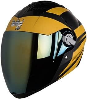 Steelbird Helmet SBA-2 STREAK Mat Black/Yellow Golden Visor Medium 580 MM (ONE EXTRA TRANSPARENT VISOR AND STEELBIRD CABLE LOCK FREE )