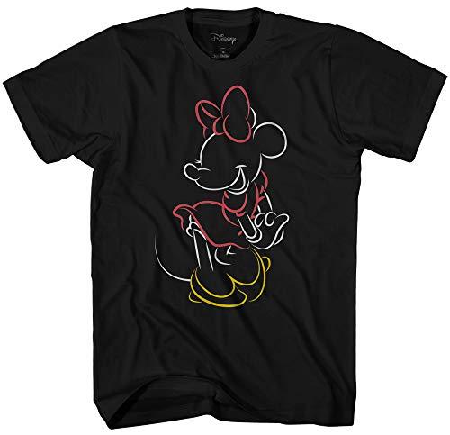 Disney Minnie Mouse Line Pop Men's Adult Graphic Tee T-Shirt (Black, X-Large)