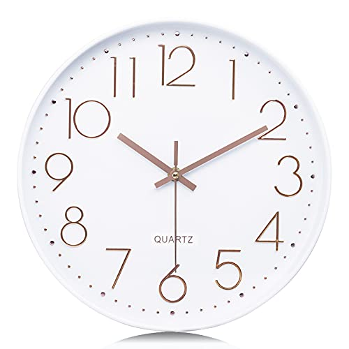 Lafocuse Reloj de Pared Oro Rosa Blancos Moderno Decorativos Silencioso Interior Redondo...
