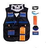 QiyuanLS Kit de Chaleco táctico para niños de 35 Piezas - Kit de Chaleco táctico para niños Elite Balas de Espuma para N-Strike Elite Series con 30 Dardos de Recarga + 1 Clip de Recarga