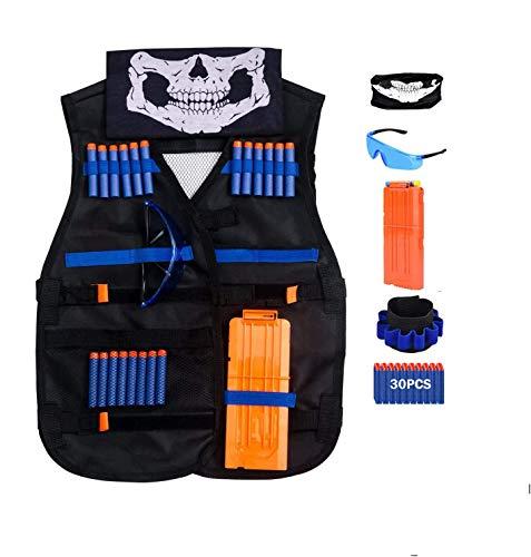 QiyuanLS Gilet tattico per Bambini, Kit Giacca Gilet Blasters per Pistola Nerf Serie N-Strike (Y7-KZZW-8CUY)