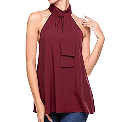 TOPKEAL – Camiseta de Verano para Mujer, Cuello Colgante, Suelta, Blusa sólida, Chaleco Vino XXL
