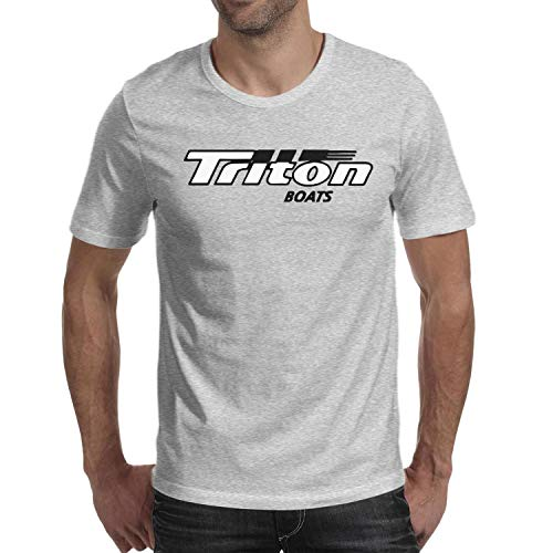 Casual Young Men Cotton Family Round Neck Triton Boats Decal Sticker Logo Short Sleeve T-Shirts
