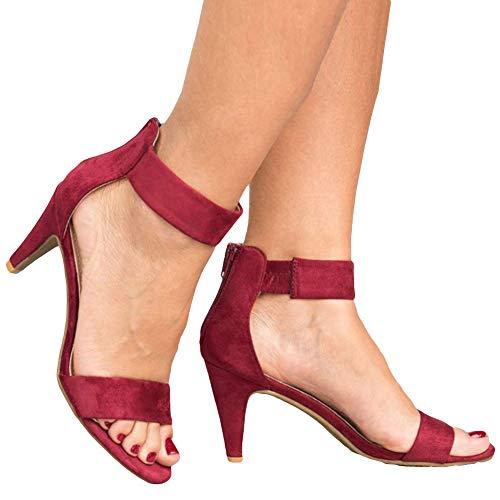 Sandalias para Mujer, Verano Punta Abierta Tacón De Aguja Correa para El Tobillo Bac-k Zi-p Sandalias De Talla Grande Zapatos De Mujer Vino Rojo 35