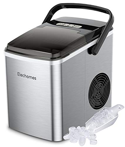 Elechomes Portable Ice Maker with Handle, Countertop Ice Maker Machine with Self-Cleaning Function, 27lbs Ice Cubes Per 24Hrs, Includes Scoop and Removable Basket, Stainless Steel, ETL Listed
