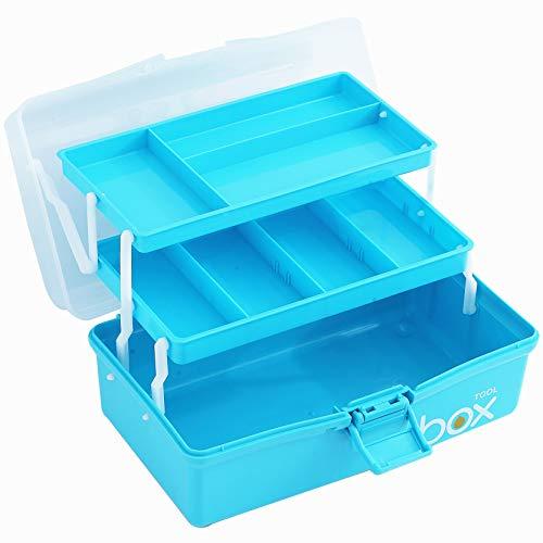 Sunxenze 30,5 cm große dreilagige Aufbewahrungsbox aus transparentem Kunststoff, Werkzeugkiste, Nähkiste, Mehrzweck-Organizer und tragbare Aufbewahrungsbox für Kunsthandwerk und Kosmetik (hellblau)