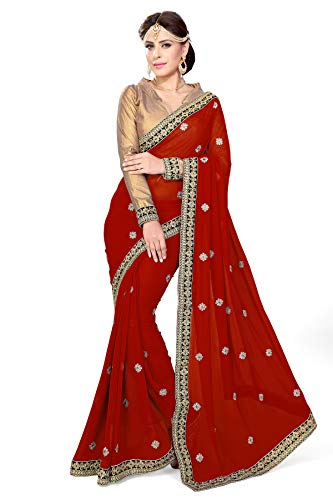 Mirchi Fashion Damen Indian Saree Partei-Abnutzungs Kleid mit Ungesteckt Oberteil/Top Sari