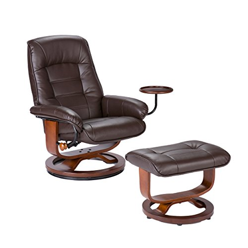Southern Enterprises Bonded Leather Recliner with Ottoman , Café Brown