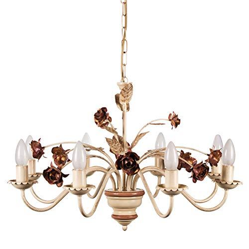 Helios Leuchten 203582 Florentiner Pendelleuchte Deckenlampe   Blüten Hängelampe   Florale Lampe Leuchte Kronleuchter Landhausstil   Pendellampe 8 x E14