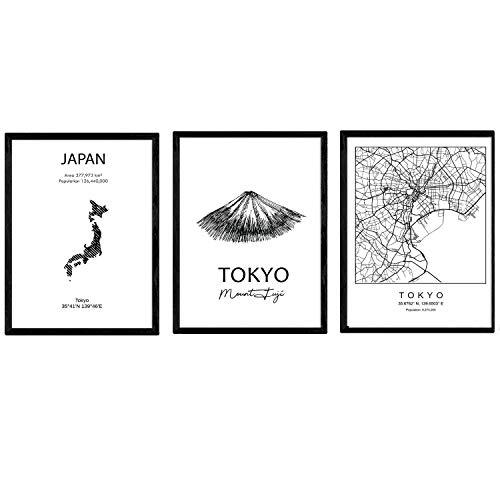 Pack de Posters de Paises y monumentos. Mapa cuidad Tokio, Monumento Monte Fuji y Mapa Japon. Tamaño A3 con Marco