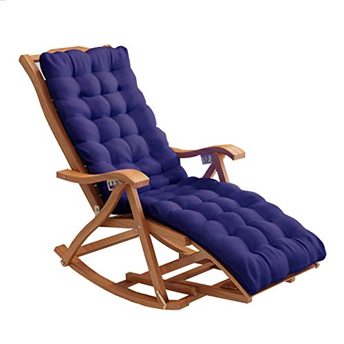 XEWNEGTZI Adjustable Recliner Folding Bamboo Rocking Chair, With Removable Cotton Pad And Retractable Footrest, Portable Outdoor Garden Beach Relaxing Chair(Color:Chair + blue cushion)