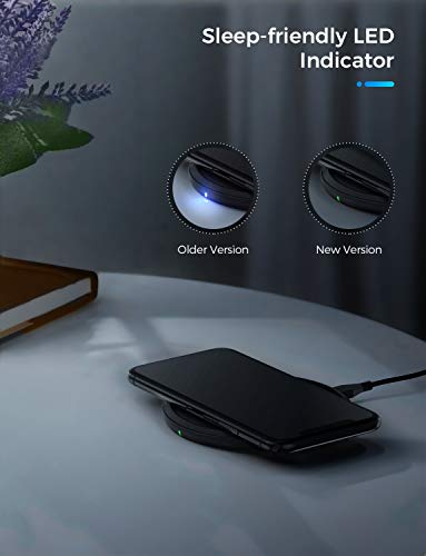 Seneo Wireless Charger, 7.5W Fast Wireless Charging Pad for iPhone 11/11 Pro Max/XS/XR/XS Max/X/8, 10W Fast Qi Charger for Galaxy Note10/Note9/S10/S9, 5W for All Qi-Enabled Devices【No AC Adapter】