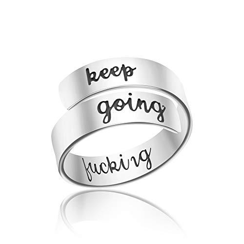 Rings for Women Men Teen Girls Inspirational Motivational Gifts for Best Friend Ring for Men Christmas Jewelry Keep Fucking Going