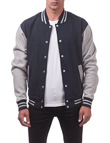 Pro Club Men's Varsity Fleece Baseball Jacket, Navy/Heather Gray, Large