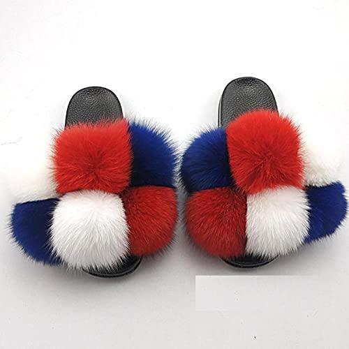 hawaianas mujer chanclas,Zapatos de flush de Mao, zapatillas de lana anti-zorro de costura hecha a mano, zapatos de botas de color plana de gran tamaño, zapatos de botas de mujer, paleta de arrastre