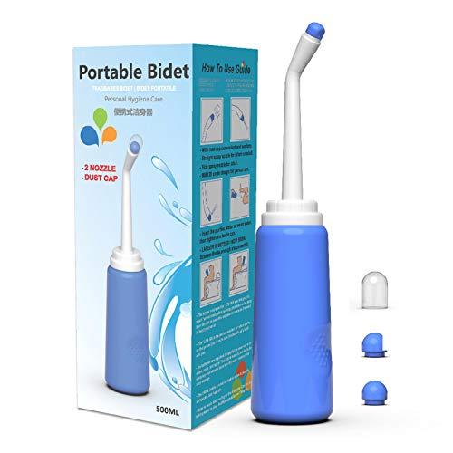 Pulvérisateur de bidet portable - Pour voyage - Hygiène personnelle - Sans air comprimé - Flacon avec raclette - 500 ml