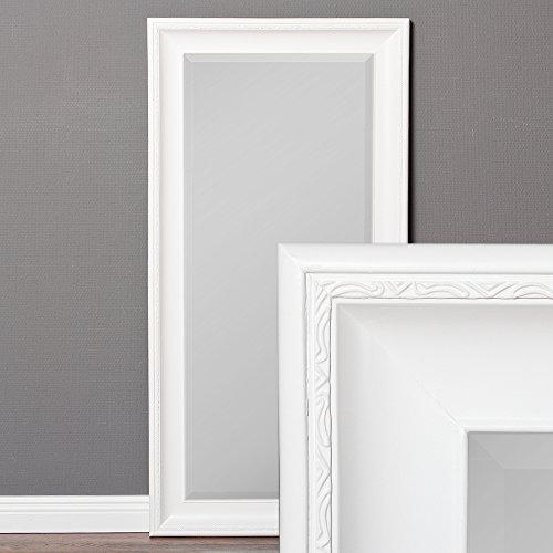 LEBENSwohnART Wandspiegel COPIA 100x50cm Pur-Weiß Spiegel Barock Holzrahmen Facette